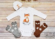 If you are looking for cute baby boy clothes, look no further! This adorable newborn take home outfit makes the perfect addition to your little ones wardrobe or special gift for someone elses little one. Makes a great Baby Shower Gift. Select from longsleeve or shortsleeve option. You can add the matching personalized hat and adorable fox socks to complete the look! Instructions: The Hat fits 0-6 Months Only! 1.)Choose your set type from the options below. You can purchase entire 3 piece…