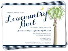 PRINTABLE - South Carolina Palmetto Moon Lowcountry Boil Invitation, Engagement, Rehearsal Dinner, Birthday, Anniversary Party. $15.00, via Etsy.