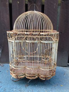Rusty Shabby Chic White Wire Bird Cage by AphroditesAntiques, $95.00