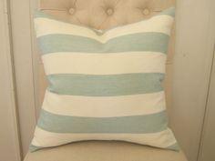 Decorative pillow cover - 18 x 18 - Kravet Windsor Smith 'Cap de Luca' Surf fabric - blue - cream - cabana stripe - coastal cottage decor. $48.00, via Etsy.