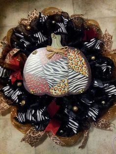 Fall Pumpkin Deco mesh wreath ..Zebra and Cheetah print
