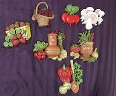 Lot of 7 VINTAGE Wall Plaques Fruit Vegetables Spice Herbs 1976 Mushroom