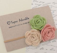 Felt Flower Headband  in Spring Colors  Felt Baby by SuperAdorable, $6.99
