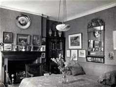 The dining room of 7 Hammersmith Terrace photographed in the late 1930s.