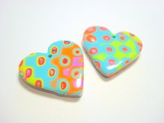 Rainbow Spotted Hearts Handmade Polymer Clay 30 mm by PennysLane, $5.00