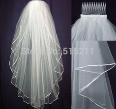 Wholsale Hot Sale 2015 In Stock Two Layers White Veils Tulle Ribbon Edge Comb Wedding Veil Bridal Accessory-in Bridal Veils from Weddings & Events on Aliexpress.com | Alibaba Group