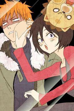 Rukia, Ichigo and Kon behind glass.