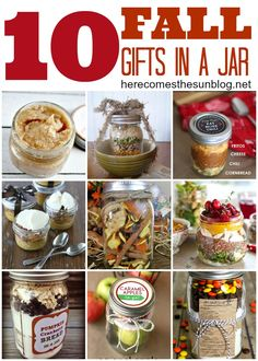 Fall Gifts-in-a-Jar! Perfect for the holidays or hostess gifts! #fallgifts #masonjar