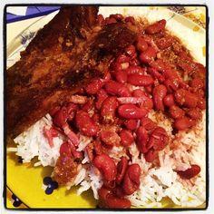Riz, haricot rouge et côte de porc