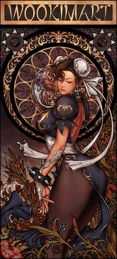 Art Nouveau Chun-Li – Street Fighter fan art by Woo Kim Comic Kunst, Comic Art, Comic Books, Illustration Art Nouveau, Manga Illustration, Street Fighter Characters, Fictional Characters, Bild Tattoos, Street Fights
