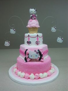 Hello Kitty Cake with ice cream scoops