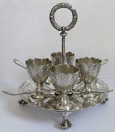 Silver Plate Egg Set c1860 Elkington & Co Birmingham Cups Cruet Antique Set.