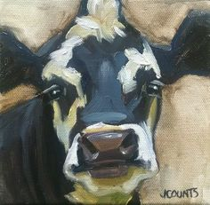 KYLE BUCKLAND JENN COUNTS FARM ART  COW CATTLE   ANIMAL OIL PAINTING A DAY Impressionism FINE ART WALL ART HOME OFFICE RESTAURANT BARN CABIN DECOR COLLECTIBLE SMALL PAINTING CUTE ANIMAL