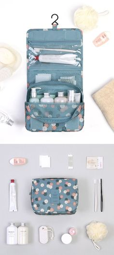 This Pattern Toiletry Pouch is both cute and functional. Great for travel!