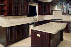 Giallo ornamental granite espresso kitchen cabinets and dark cabinets