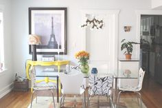 such a fun dining room. bold print on wall