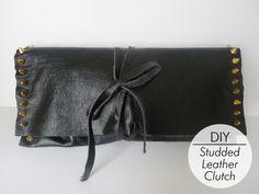 DIY Studded Folded Leather Clutch
