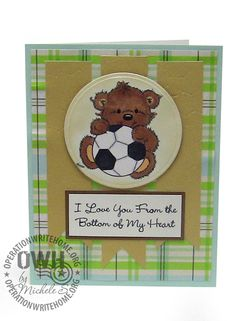 "Image by Stampavie,  Penny Johnson Clear Stamp ""Sporty""; Banner strips DCWV Pebbled paper,  Circle Die by Spellbinders; Sentiment by My Favo..."