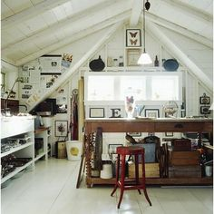 attic workspace-I would love to have an attic. What a gorgeous studio space.