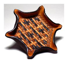 Hexagon Leather Tray, Tooled Brown Ombre Basketweave Valet Tray, Third Anniversary Gift, Made to Ord Tooled Leather, Leather Tooling, Leather Carving, Anniversary Gifts For Him, Third Anniversary, Pancake Holster, Leather Valet Tray, Decorative Borders, Hexagon Shape