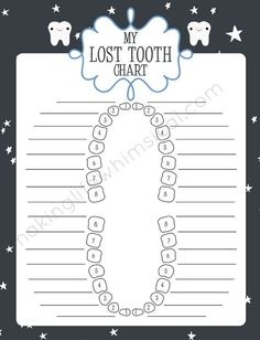 ... Charts Printable, Lost Tooth, Tooth Fairies, Tooth Care, Tooth Charts