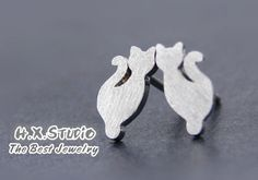 Sterling Silver Cat Earring, Handmade Silver Cat Ear Studs, Anniversary, Birthday, Christmas, Gift