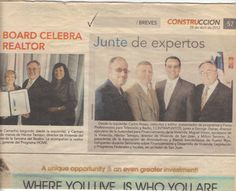 Carlos Rosso with Building, Finance, Infrastructure, Real Estate Government, experts- newspaper clipping