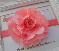 Coral Flower Headband  Baby Headband  Infant by PattiCakeBowtique, $8.49
