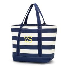 8393fac18f76 Items similar to Navy Stripe Canvas Tote Bag Personalized Monogrammed  Canvas Tote Travel Bag Cotton Canvas ON SALE on Etsy