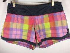 Lululemon Run Groovy Shorts Foxy Plaid Check Mate Multi Color Sz. 8 *RARE* #Lululemon #Shorts