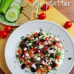 Greek Dip Platter.  So easy, healthy and filling. I love it with pita chips and celery.