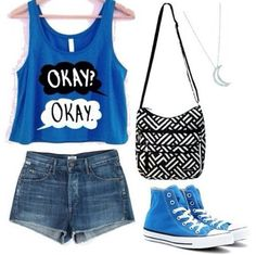 Fault in our Stars sleeveless crop top with high waisted jean shorts and blue high top converse