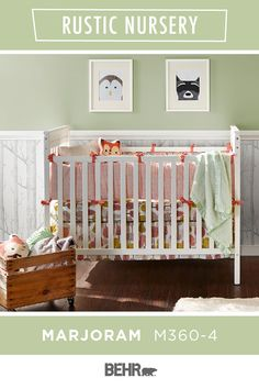 Have you ever seen a cuter nursery? We didn't think so! It all starts with BEHR® Paint in Marjoram. This pastel green wall color forms the backdrop for the rustic forest-inspired animal prints and wallpaper to shine. Click below to learn more.