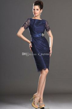 Navy Blue Lace Short Mother of the Bride Dress