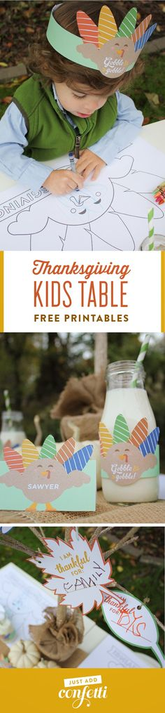 Keep the kids busy this Thanksgiving with these creative kids table ideas. They will love the free printable turkey coloring placemat, turkey place cards, turkey headbands, turkey hats, turkey bottle labels, and gratitude tree. Download them all at Just Add Confetti! #freeprintables #JustAddConfetti #thanksgiving #kidstable #thanksgivingkidstable