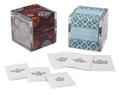 """Table Topics Dinner Party   cubes with questions for around the table.  There is also a """"not your mom's"""" version as well.  : )"""