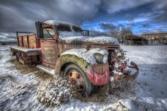 Old truck, clouds, Winter, snow, cold, rusty, vehicle, transporation, decay, breathtaking, curves, hot wheels, history, photo.