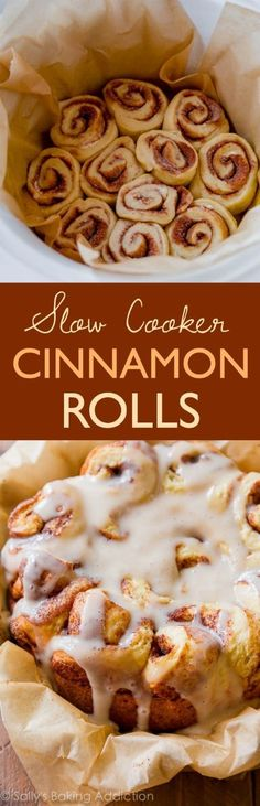 Easy Crock Pot Cinnamon Rolls Slow Cooker Recipe Sally's Baking Addiction - The BEST Cinnamon Rolls Recipes - Perfect Treats for Breakfast, Brunch, Desserts, Christmas Morning, Special Occasions and Holidays Crock Pot Desserts, Slow Cooker Desserts, Slow Cooker Recipes, Crock Pots, Cinnamon Desserts, Cinnamon Recipes, Crockpot Ideas, Slow Cooking, Cooking Time