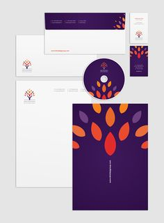 Set of corporate identities (Arabic + English) on Branding Served - Love the saturated color palette!