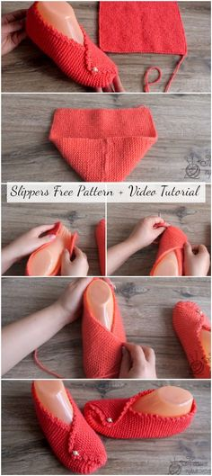 Slippers free instructions for sample videos - crochetopedia - projects to try . Slippers free pattern video tutorial - crochetopedia - projects to try . Knit Slippers Free Pattern, Crochet Slipper Pattern, Crochet Socks, Knitted Slippers, Knitting Socks, Free Knitting, Baby Knitting, Free Crochet, Knitting Patterns