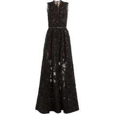 ELIE SAAB Sequin Embellished Floor Length Gown with Lace (259 100 UAH) ❤ liked on Polyvore featuring dresses, gowns, holiday dresses, lace ball gown, sequin dresses, lace evening gowns and lace evening dresses