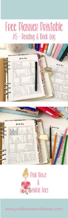 Reading & Book Log: Free A5 Planner Printable - bullet journal style printable - coloring page insert - instant PDF download - Pink Bows & Twinkle Toes