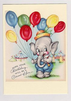 Birthday card. Made from a vintage card. A Circus of by vintagevic, £2.50