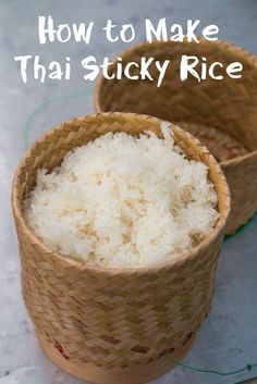 In this recipe, learn how to make sticky rice, the authentic Thai street food way. Make it like this, and it will be perfectly fluffy and moist! http://www.eatingthaifood.com/2015/02/how-to-make-thai-sticky-rice/