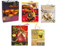 Geschenktaschen Gr. L Hochformat mit Weihnachtsmotiven 5-fach sortiert 10 Stück