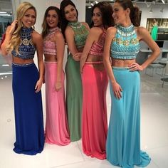 Find More Prom Dresses Information about 2 Piece Prom Dresses 2016 Special Occasion High Neck Mermaid Chiffon Crystal Long Pageant Gowns For Women Vestido De Formatura,High Quality dress charm,China dress bra Suppliers, Cheap gown house from Kingshow Bridal on Aliexpress.com