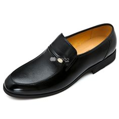 Dress Shoes | Black Rubber Sole Cow Leather Men's Dress Shoes - Milanoo.com