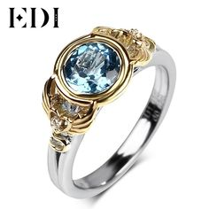 EDI 925 Sterling Silver 6.5mm Natural Blue Topaz Engagement wedding Rings For Women 18k Gold Plated Vintage Fine Jewelry