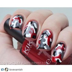 """#Repost @lovevarnish ・・・ Who says #camouflage can only be done in neutral green tones? Manon did this fun version in black/grey/white and.. Red! What do…"""