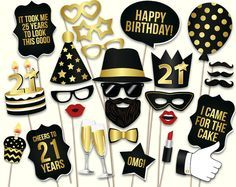 21st birthday photo booth props printable PDF. Black and gold. 21st birthday decorations. Birthday party supplies Mustache, lips, photobooth